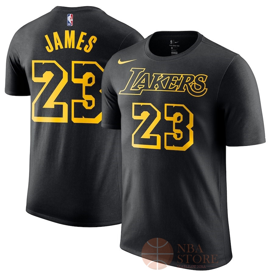 Classic Maillot NBA Nike Los Angeles Lakers Manche Courte NO.23 Lebron James Noir Ville