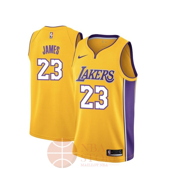 Classic Maillot NBA Nike Los Angeles Lakers NO.23 Lebron James Jaune Icon