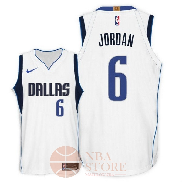 Classic Maillot NBA Nike Dallas Mavericks NO.6 DeAndre Jordan Blanc Association 2018