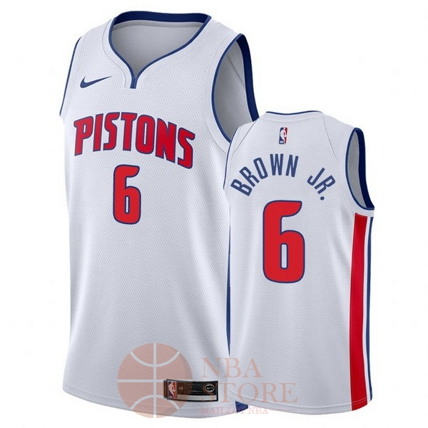Classic Maillot NBA Nike Detroit Pistons NO.6 Bruce Brown Jr Blanc Association 2017-18