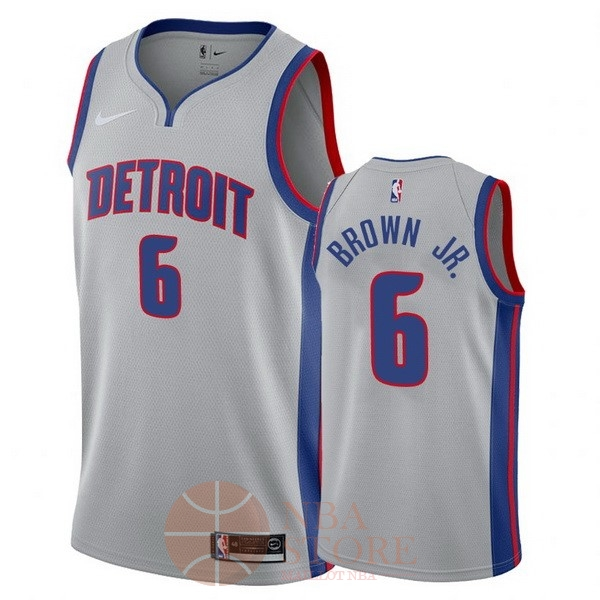 Classic Maillot NBA Nike Detroit Pistons NO.6 Bruce Brown Jr Gris Statement 2017-18
