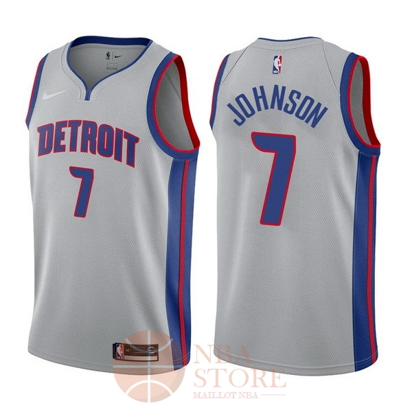Classic Maillot NBA Nike Detroit Pistons NO.7 Stanley Johnson Gris Statement 2017-18