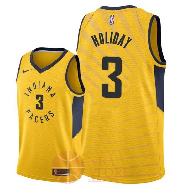 Classic Maillot NBA Nike Indiana Pacers NO.3 Aaron Holiday Jaune Statement 2018