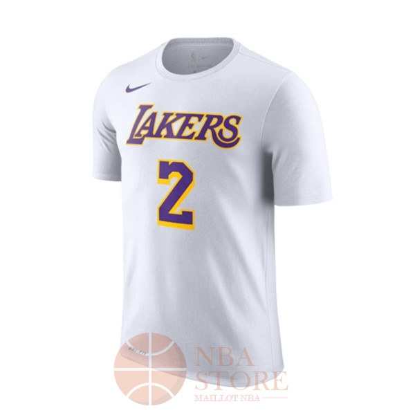 Classic Maillot NBA Nike Los Angeles Lakers Manche Courte NO.2 Lonzo Ball Blanc Association 2018-19
