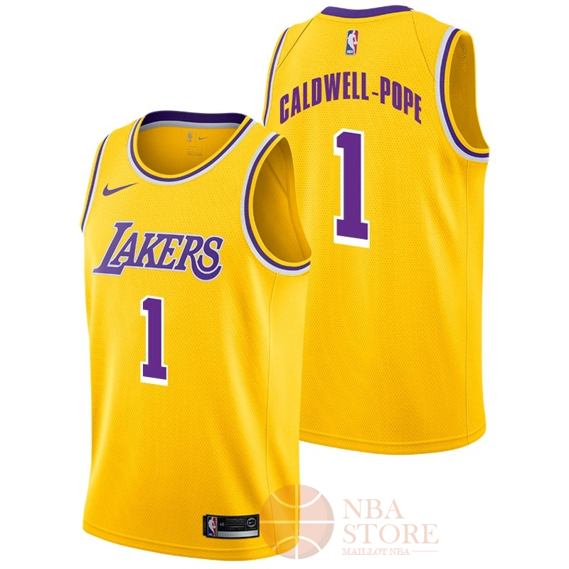Classic Maillot NBA Nike Los Angeles Lakers NO.1 Kentavious Caldwell Pope Jaune Icon 2018-19
