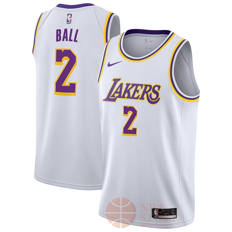 Classic Maillot NBA Nike Los Angeles Lakers NO.2 Lonzo Ball Blanc Association 2018-19
