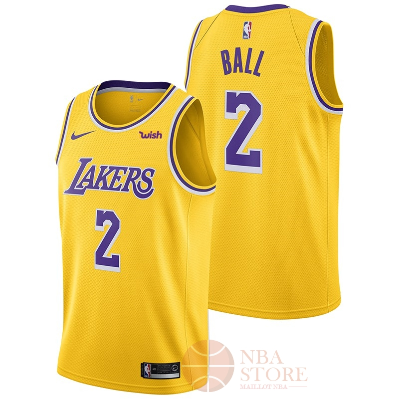 Classic Maillot NBA Nike Los Angeles Lakers NO.2 Lonzo Ball Jaune 2018-19