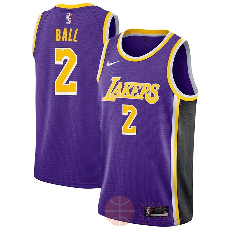 Classic Maillot NBA Nike Los Angeles Lakers NO.2 Lonzo Ball Pourpre Statement 2018-19
