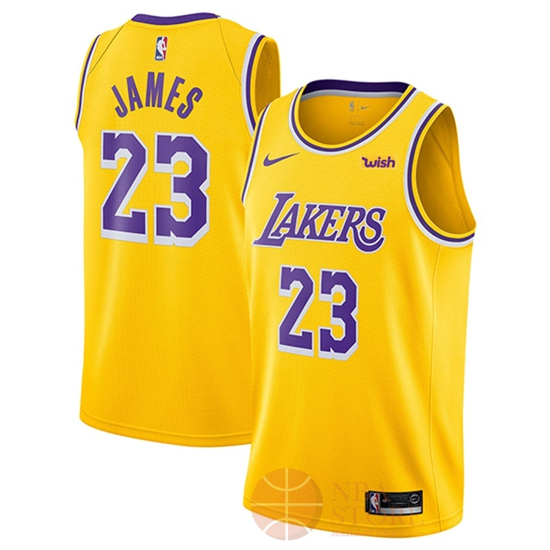 Classic Maillot NBA Nike Los Angeles Lakers NO.23 Lebron James Jaune 2018-19