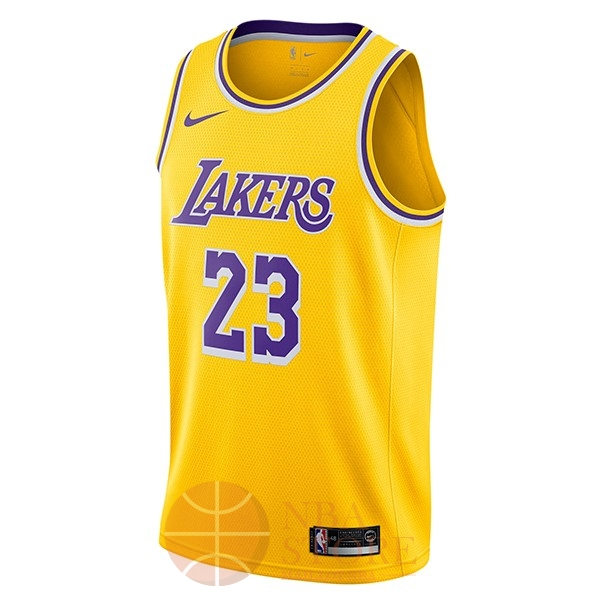 Classic Maillot NBA Nike Los Angeles Lakers NO.23 Lebron James Jaune Icon 2018-19