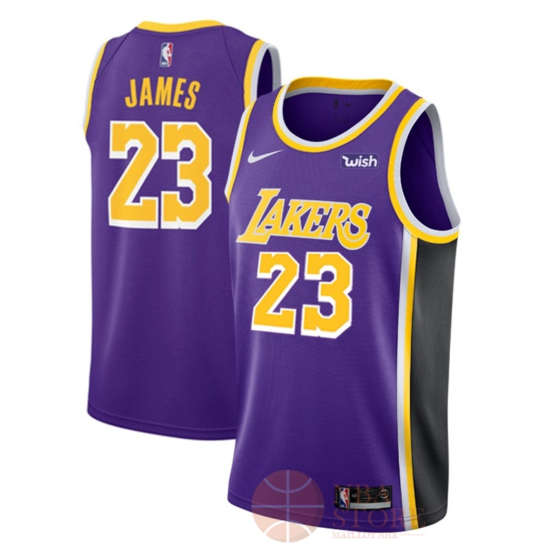 Classic Maillot NBA Nike Los Angeles Lakers NO.23 Lebron James Pourpre 2018-19