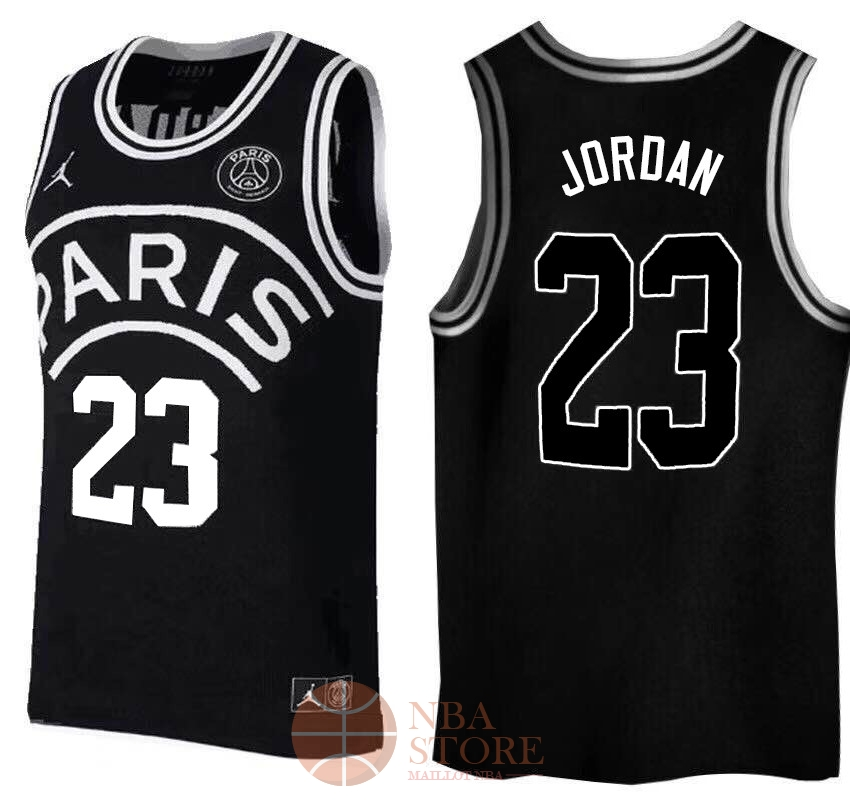 Classic Maillot Collaboration Maillot Basket-ball Jordan x Paris Saint-Germain NO.23 Jordan Noir Logo Blanc