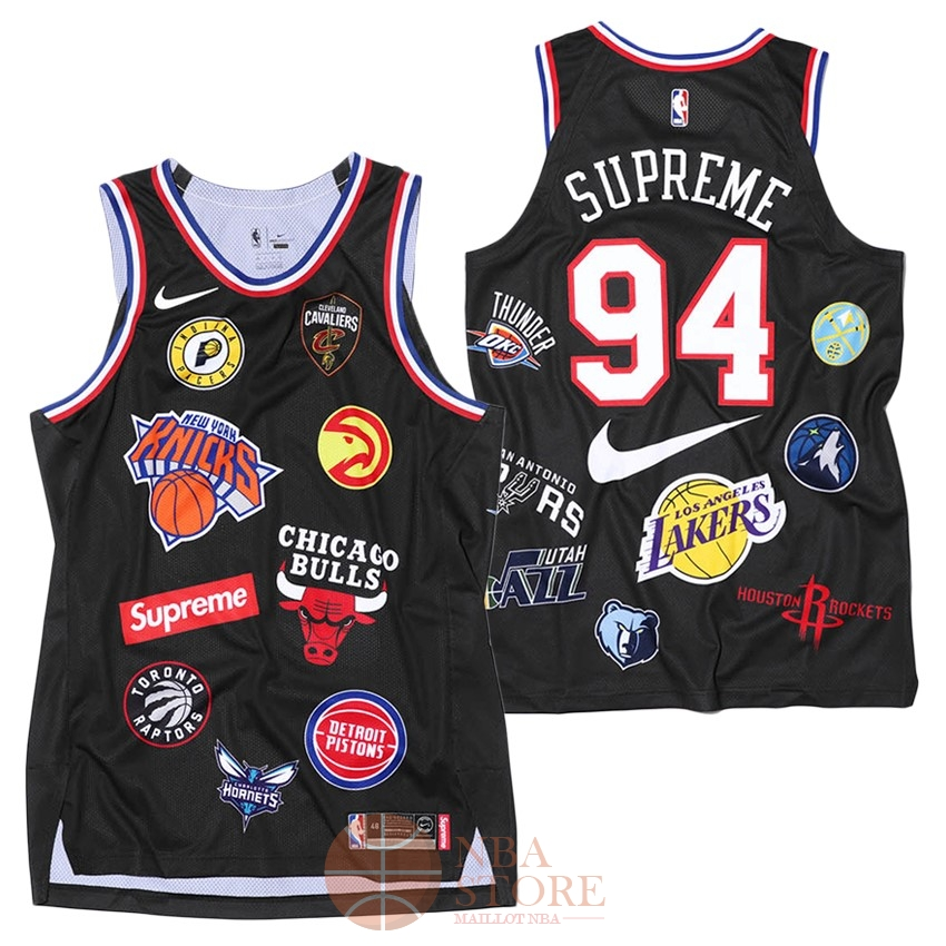 Classic Maillot Collaboration Maillot Basket-ball Supreme x Nike #94 Logo Noir
