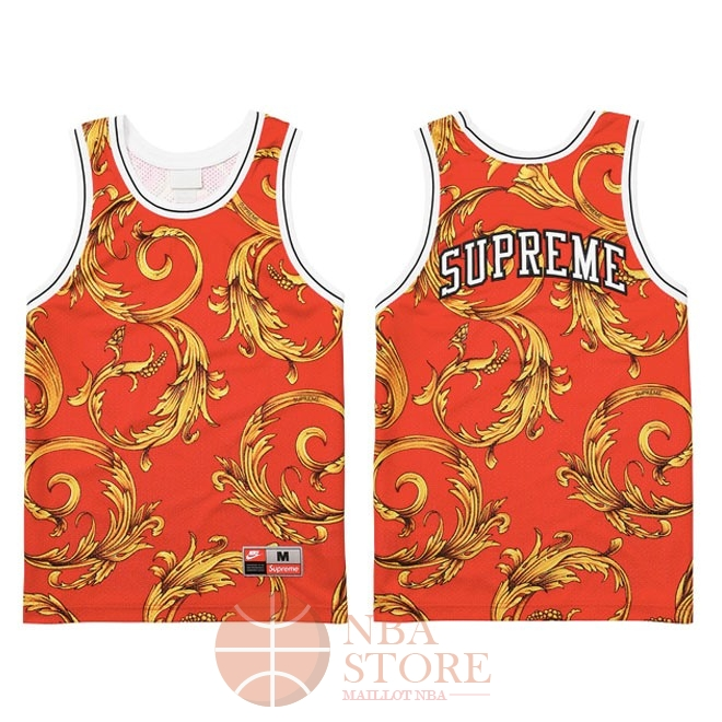 Classic Maillot Collaboration Maillot Basket-ball Supreme x Nike Air Foamposite Rouge