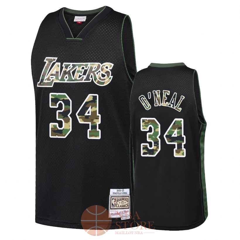 Classic Maillot NBA Camo Feu Droit Los Angeles Lakers NO.34 Shaquille O'Neal Noir 2018