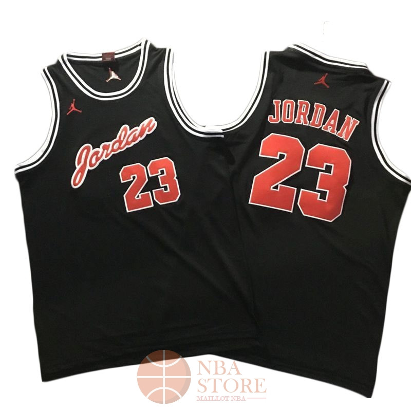 a1962c3b2af26 Classic Maillot NBA Chicago Bulls NO.23 Michael Jordan Noir Rouge Blanc
