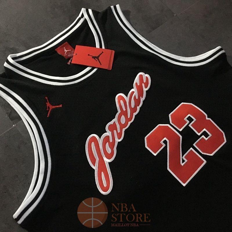 9e8a941fcd990 Classic Maillot NBA Chicago Bulls NO.23 Michael Jordan Noir Rouge Blanc ...