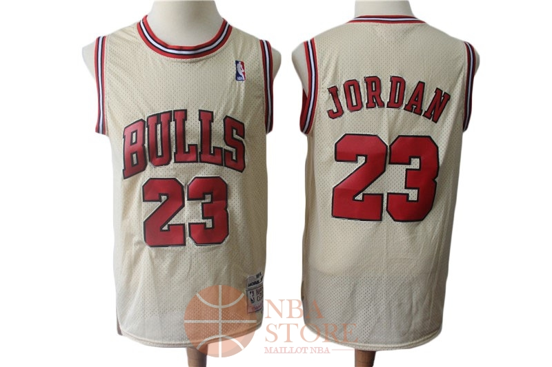 Classic Maillot NBA Chicago Bulls NO.23 Michael Jordan Retro Crème