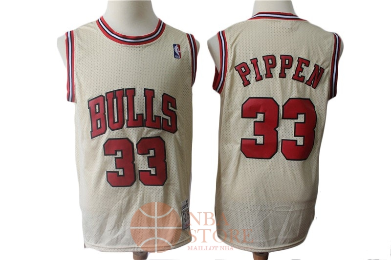 Classic Maillot NBA Chicago Bulls NO.33 Scottie Pippen Retro Crème