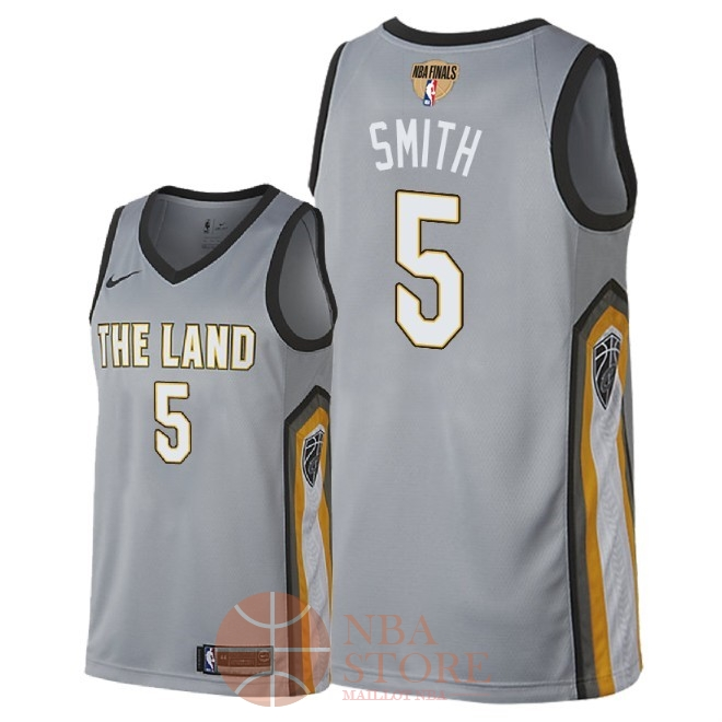 Classic Maillot NBA Cleveland Cavaliers 2018 Final Champions NO.5 JR. Smith Nike Gris Ville Patch