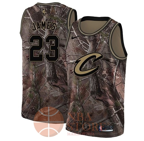 Classic Maillot NBA Cleveland Cavaliers NO.23 LeBron James Camo Swingman Collection Realtree 2018