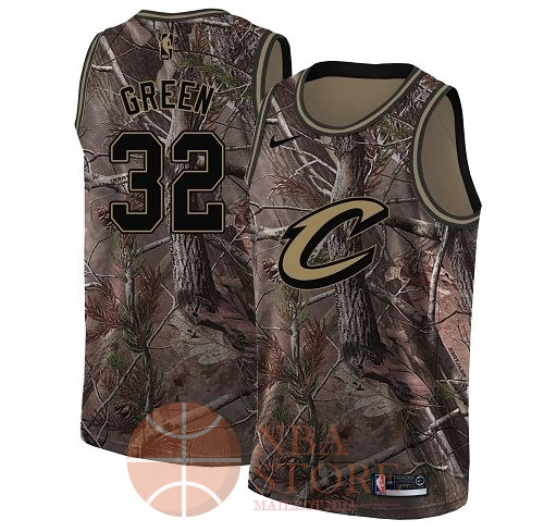 Classic Maillot NBA Cleveland Cavaliers NO.32 Jeff Green Camo Swingman Collection Realtree 2018