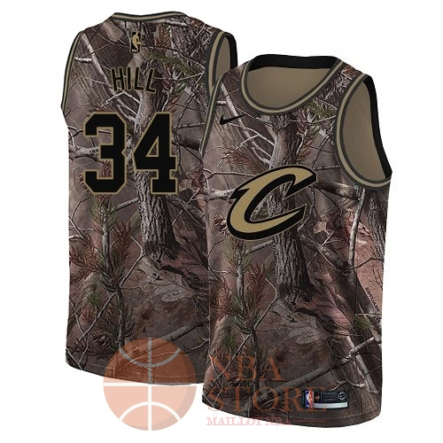 Classic Maillot NBA Cleveland Cavaliers NO.34 Tyrone Hill Camo Swingman Collection Realtree 2018