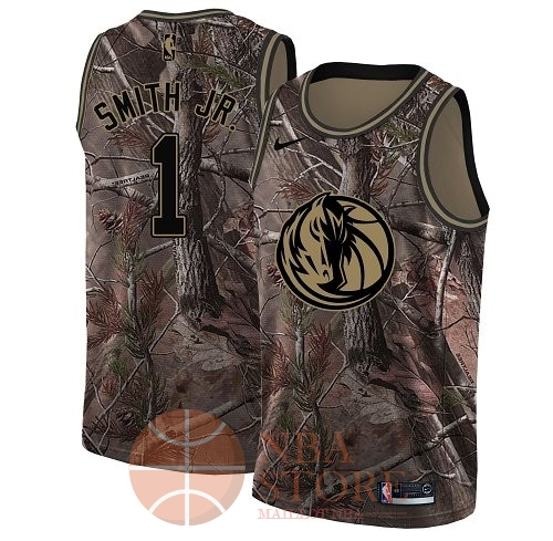 Classic Maillot NBA Dallas Mavericks NO.1 Dennis Smith Jr Camo Swingman Collection Realtree 2018