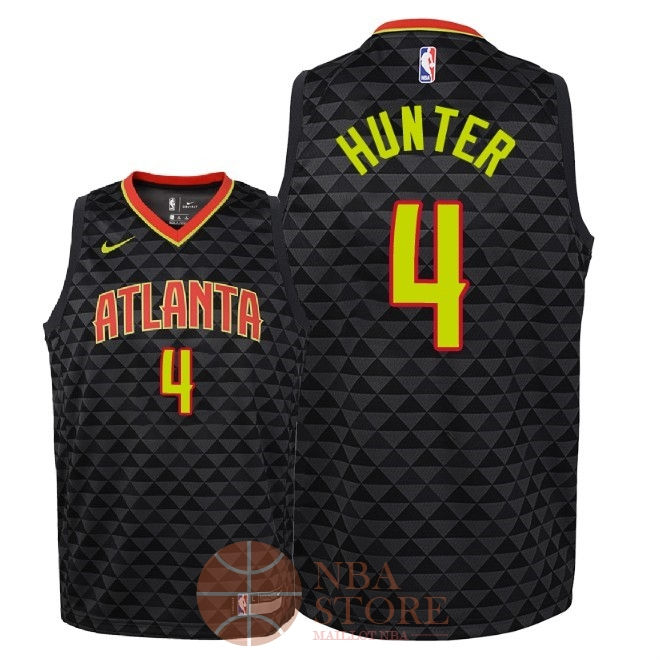 Classic Maillot NBA Enfant Atlanta Hawks NO.4 R.J. Hunter Noir Icon 2018-19