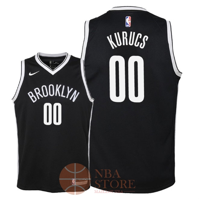Classic Maillot NBA Enfant Brooklyn Nets NO.0 Rodions Kurucs Noir Icon 2018