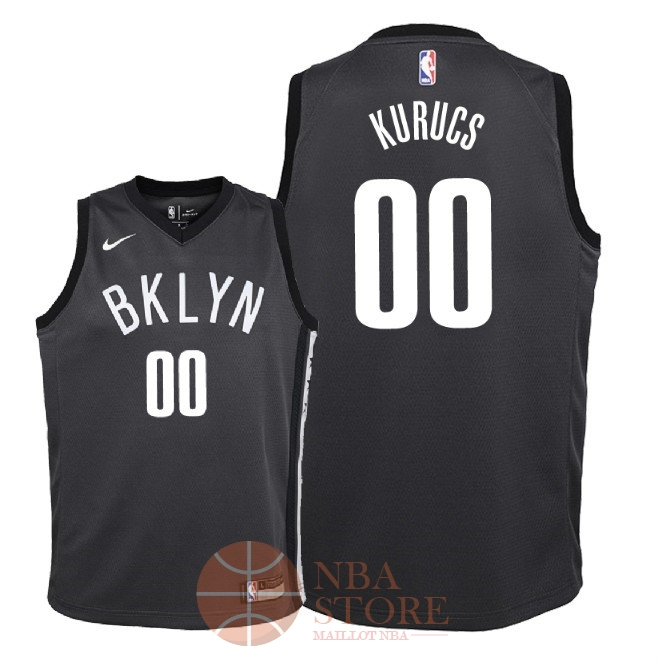 Classic Maillot NBA Enfant Brooklyn Nets NO.0 Rodions Kurucs Noir Statement 2018