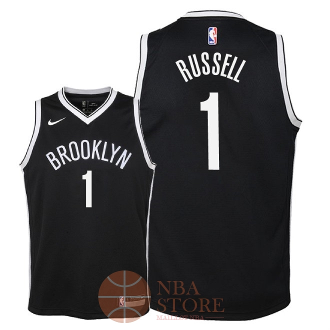 Classic Maillot NBA Enfant Brooklyn Nets NO.1 D'Angelo Russell Noir Icon 2018