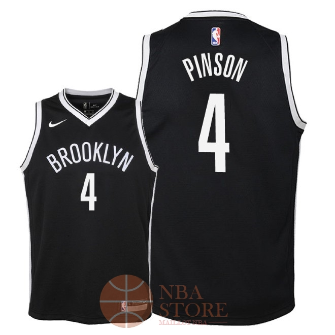 Classic Maillot NBA Enfant Brooklyn Nets NO.4 Theo Pinson Noir Icon 2018