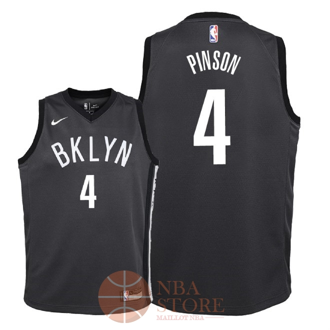 Classic Maillot NBA Enfant Brooklyn Nets NO.4 Theo Pinson Noir Statement 2018