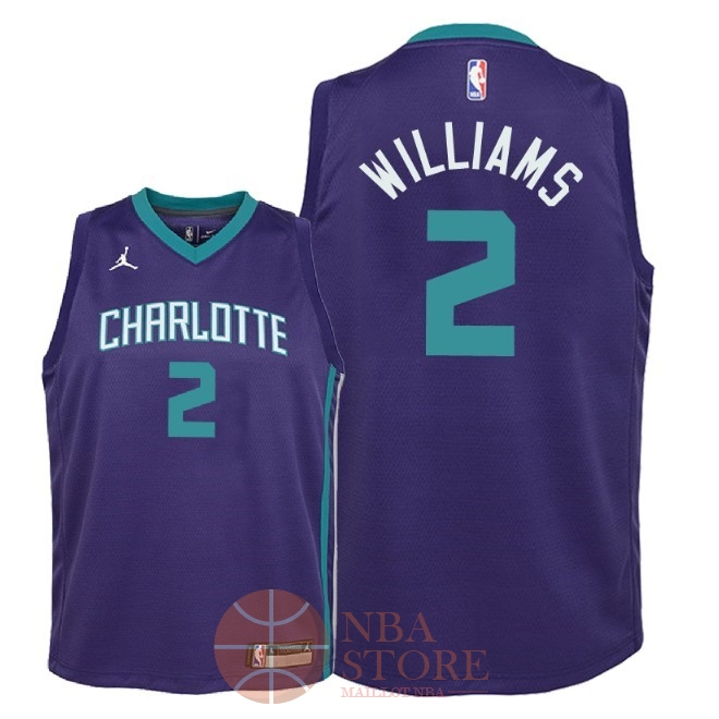 Classic Maillot NBA Enfant Charlotte Hornets NO.2 Marvin Williams Pourpre Statement 2018