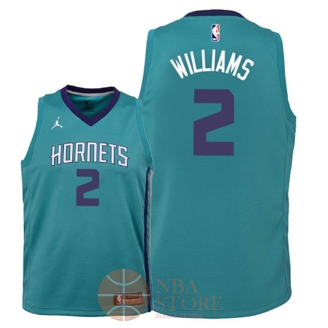 Classic Maillot NBA Enfant Charlotte Hornets NO.2 Marvin Williams Vert Icon 2018