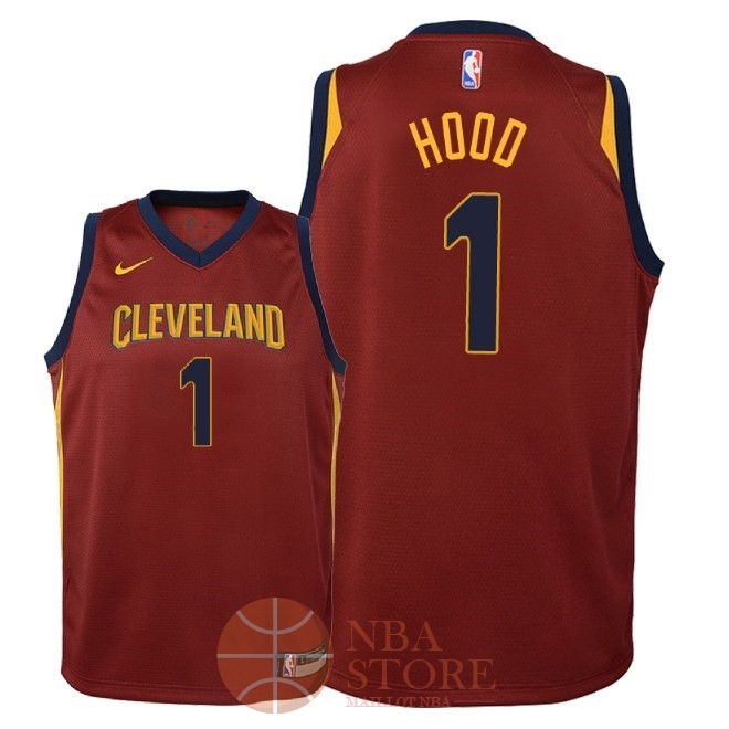 Classic Maillot NBA Enfant Cleveland Cavaliers NO.1 Rodney Hood Rouge Icon 2018