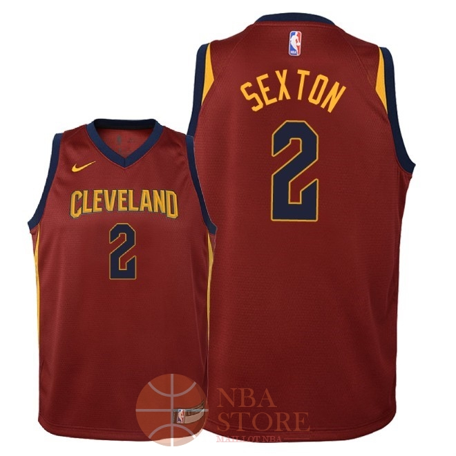 Classic Maillot NBA Enfant Cleveland Cavaliers NO.2 Collin Sexton Rouge Icon 2018