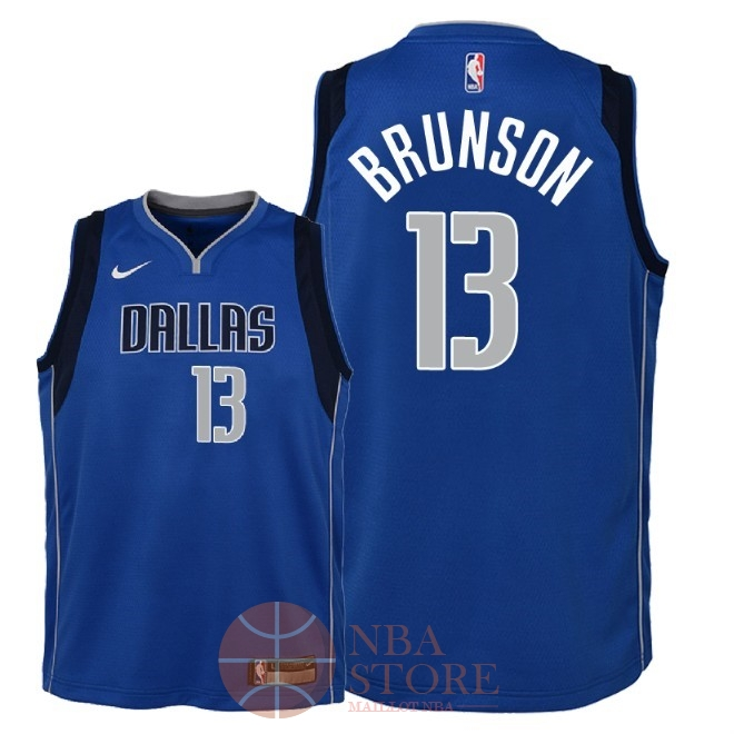 Classic Maillot NBA Enfant Dallas Mavericks NO.13 Jalen Brunson Bleu Icon 2018