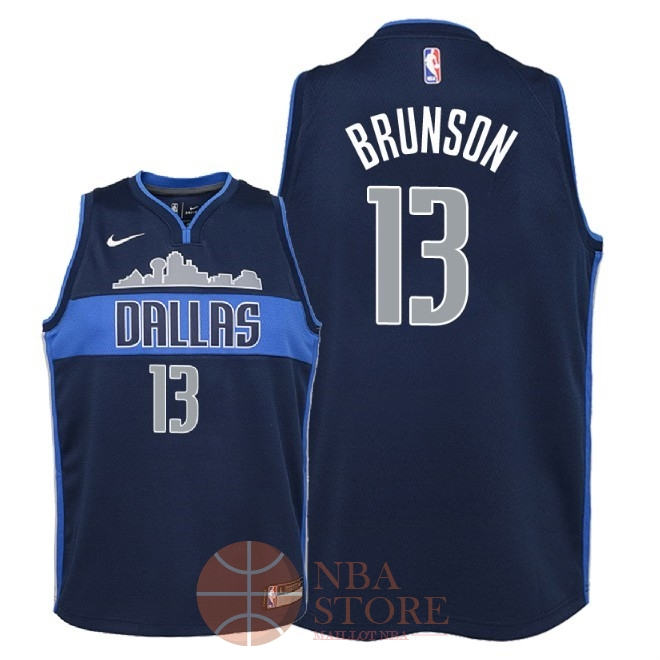 Classic Maillot NBA Enfant Dallas Mavericks NO.13 Jalen Brunson Noir Statement 2018