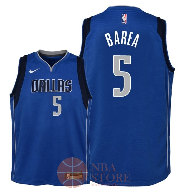 Classic Maillot NBA Enfant Dallas Mavericks NO.5 J.J. Barea Bleu Icon 2018