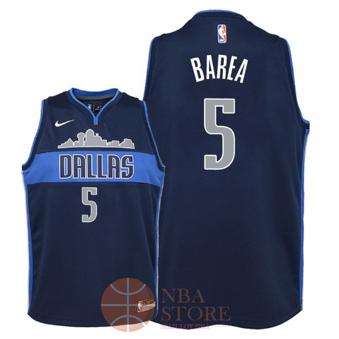 Classic Maillot NBA Enfant Dallas Mavericks NO.5 J.J. Barea Noir Statement 2018