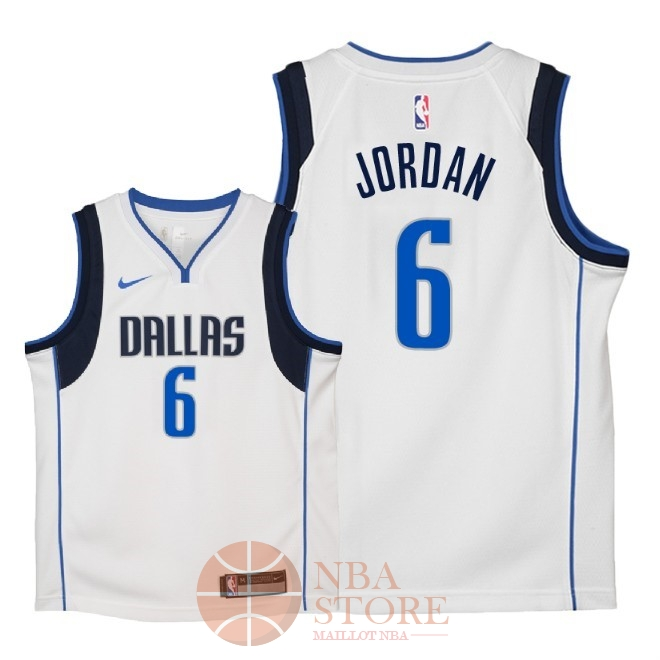 Classic Maillot NBA Enfant Dallas Mavericks NO.6 DeAndre Jordan Blanc Association 2018