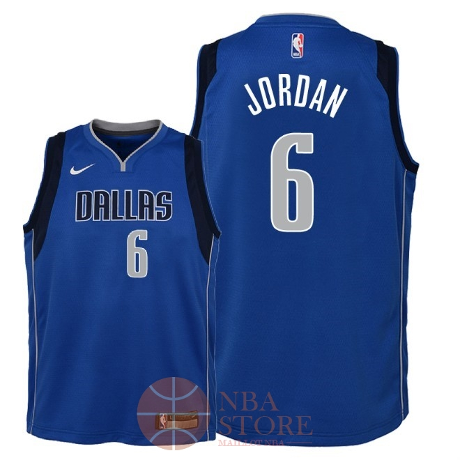 Classic Maillot NBA Enfant Dallas Mavericks NO.6 DeAndre Jordan Bleu Icon 2018