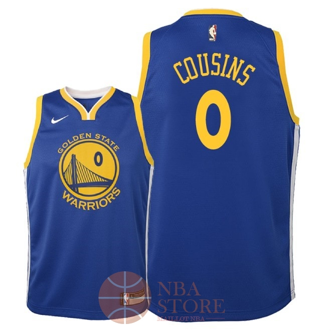 Classic Maillot NBA Enfant Golden State Warriors NO.0 DeMarcus Cousins Bleu Icon 2018