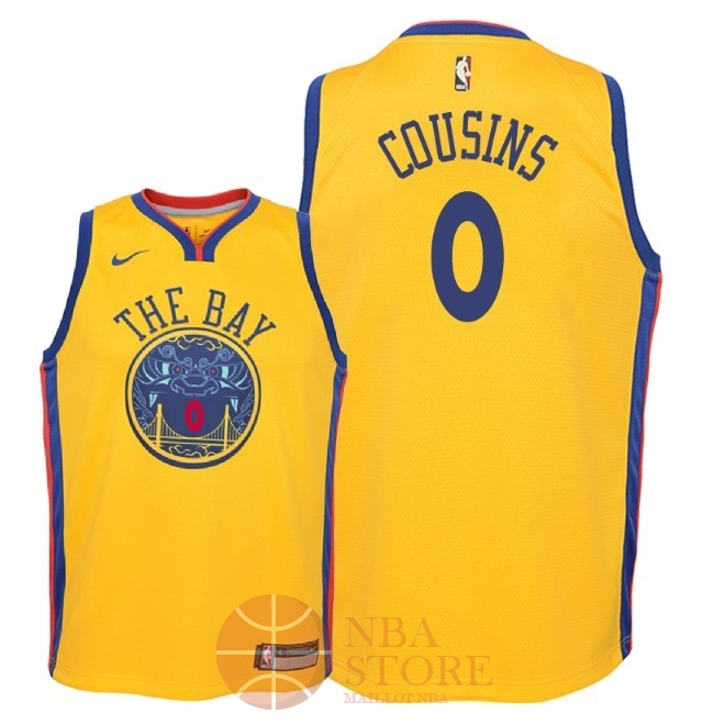 Classic Maillot NBA Enfant Golden State Warriors NO.0 DeMarcus Cousins Nike Jaune Ville 2018