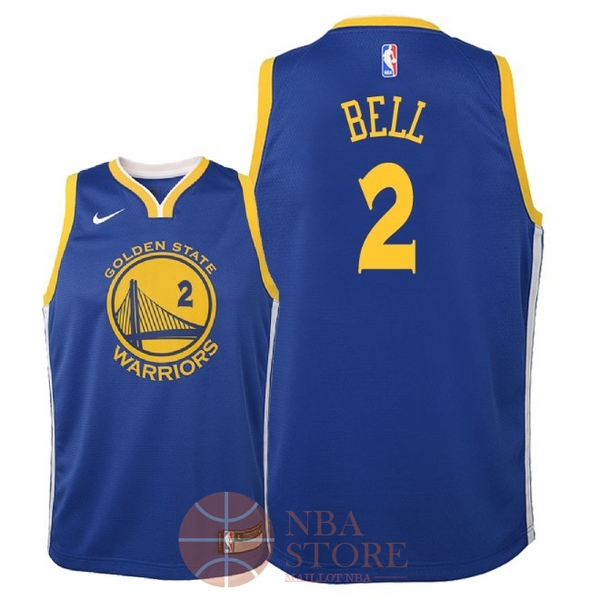 Classic Maillot NBA Enfant Golden State Warriors NO.2 Jordan Bell Bleu Icon 2018