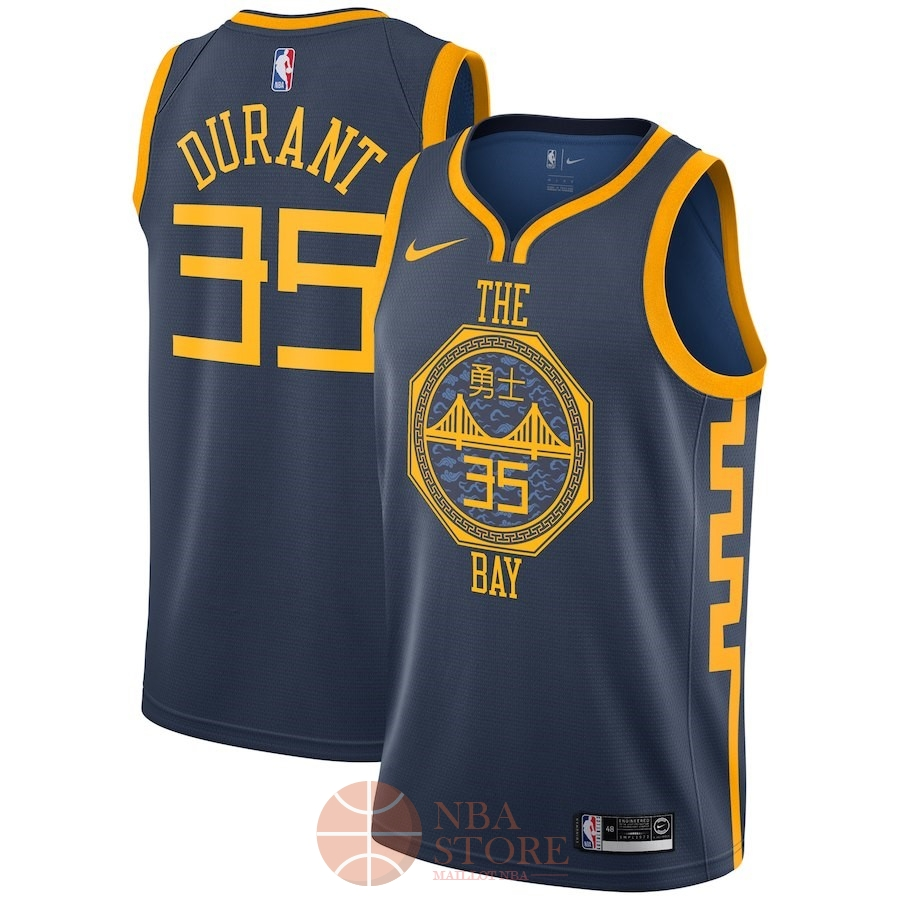 4fe7798180433 Classic Maillot NBA Enfant Golden State Warriors NO.35 Kevin Durant Nike  Marine Ville 2018