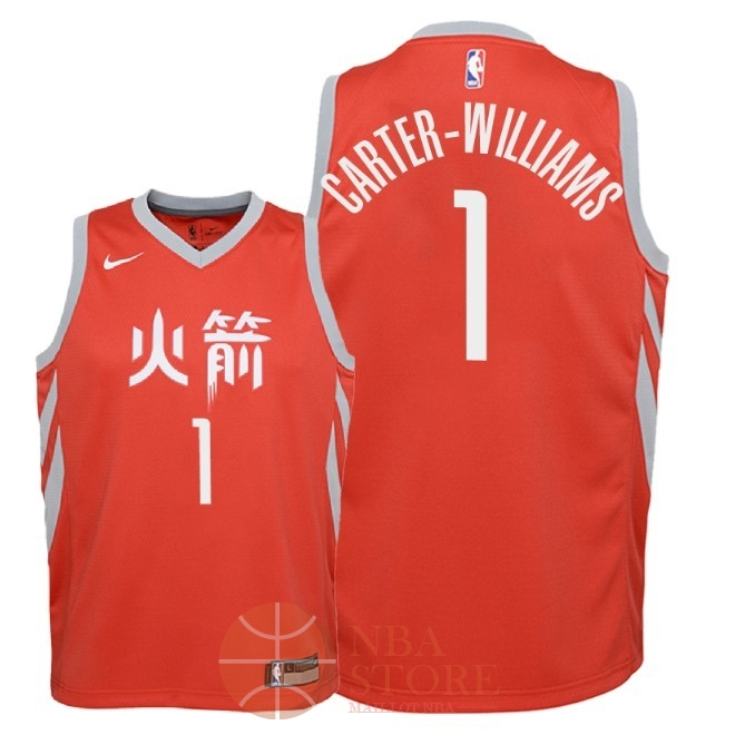 Classic Maillot NBA Enfant Houston Rockets NO.1 Michael Carter Williams Nike Rouge Ville 2018