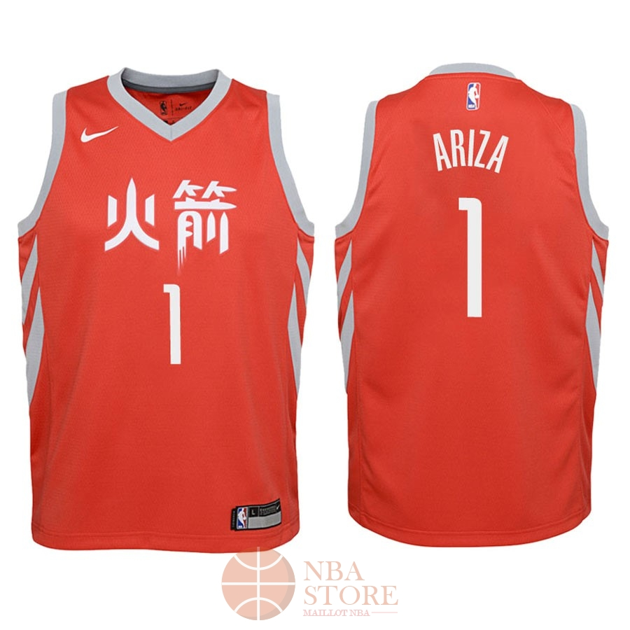 Classic Maillot NBA Enfant Houston Rockets NO.1 Trevor Ariza Nike Rouge Ville 2018
